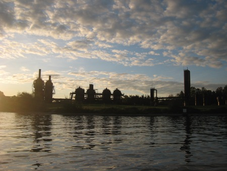 Gasworks Park skyline at sunset.